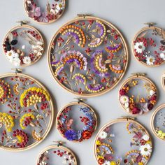 Waving from Detroit as I run to my next flight home. In between, here's some beautiful dried floral work by in Embroidery Hoop Crafts, Floral Embroidery, Hand Embroidery, Marie Suarez, Baby Kind, Handmade Home, Flower Crafts, Dried Flowers, Textile Art