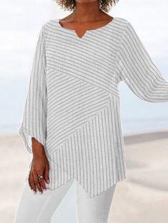 Striped Long Sleeve Shirt, Long Sleeve Shirts, Striped Shirts, Casual Tops For Women, Women's Casual Tops, Stripes Fashion, Casual T Shirts, Casual Pants, Types Of Sleeves