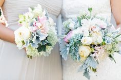 I love the muted pastel shades of these bouquets.    Photography by erinheartscourt.com, Wedding Coordination by joydevivre.net, Floral Design by hollyflora.com