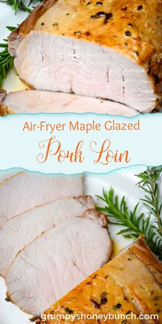 A pork loin roasted in the air fryer with a maple glaze is an easy way to have a roast in just a short amount of time without having to turn on the oven. Moist and delicious inside with a sweet and savory glaze cooked over top of the roast. #pork #roast #airfryer #dinner #recipe #maple #glaze #GHBrecipe Pork Loin, Pork Roast, Pork Tenderloins, Beef Tenderloin, Entree Recipes, Dinner Recipes, Game Recipes, Meat Recipes, Yummy Recipes