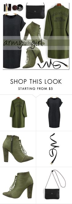 """army girl"" by mirisproleca ❤ liked on Polyvore featuring Michael Antonio, H&M, Chanel, armygreen and plus size dresses"