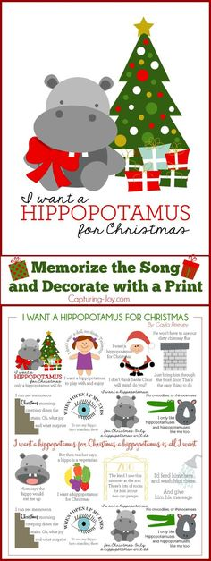 I Want a Hippopotamus for Christmas Print and Song to Memorize!  A fun Christmas activity for kids!  Capturing-Joy.com