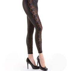 Lace Reptile Leggings - Black - Medium, Large  | eBay