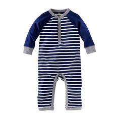 8fd9f567c935 Caravan Stripe Henley Romper and another example of ideal romperhood .  Footed rompers tend to be