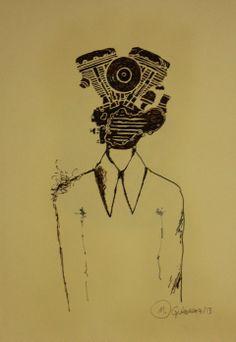Machine Head.Gravura em nanquim na cor sépia em papel especial de algodão.