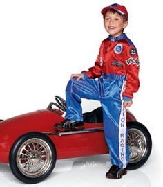 racecar driver child costume chasing fireflies