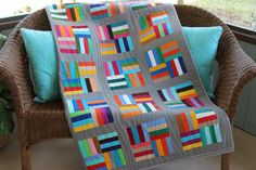 New Modern Multi-Color Handmade Patchwork by RedAmaryllisQuilts