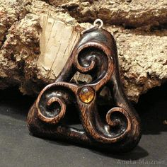 Triskelion hand medieval carved wooden pendant by AnetaMajzner, zł65.00