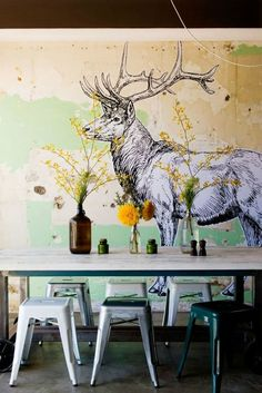 #mural #deer #cafe
