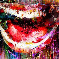 Sorriso di pittura stampa su tela di bocca labbra Wall Art