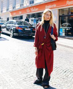 Ada Kokosar wearing FEMME MAISON Bordeaux Red Silk Drape Dress at PFW 2015
