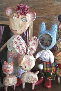 fab papier mache creatures and people for EarthAngelsStudios.com from Julie Arkell...
