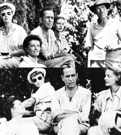 Katharine Hepburn, Humphrey Bogart, Lauren Bacall and John Huston on the set of The African Queen. Great Love Stories, Love Story, Bogie And Bacall, John Huston, Katharine Hepburn, Humphrey Bogart, Lauren Bacall, Great Movies, On Set