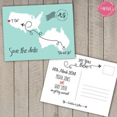 Destination Wedding Save the Date Postcard - Travel Theme - Custom - Printable - DIY Destination Wedding Save The Dates, Destination Wedding Invitations, Wedding Planning, Destination Weddings, Postcard Wedding Invitation, Wedding Koozies, Cruise Wedding, Wedding List, Themed Weddings