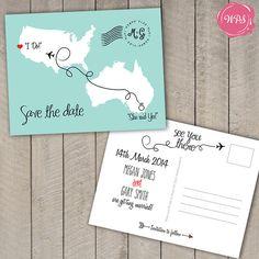 Custom Printable Travel/Destination Themed Save the Date by WeddingPlanningShop