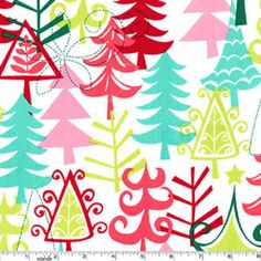 Christmas Fabric Yule Trees in Multi by Michael by neemerone, $10.99
