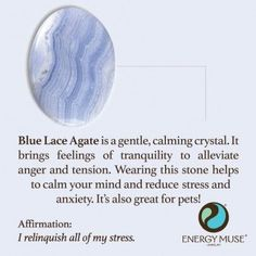 Blue Lace Agate Stone - Stress & Anxiety Relief • Calming A Blue Lace Agate Stone is one of the best crystals for anxiety and stress relief. It emits calming and soothing vibrations that bring peace of mind, helping you to relax.