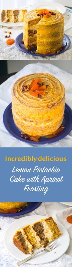 A wonderful combination of lemon and pistachio layers with mascarpone and buttercream apricot frosting.