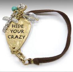 Leather Charm Bracelet strapped western bracelet hide your crazy $18.99