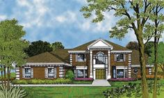 Traditional split formal spaces are both sun lit by bayed windows in this 5 bedroom Colonial.  House Plan # 661213.