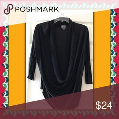 Blouse with scoop droop neck Black blouse Tops Blouses