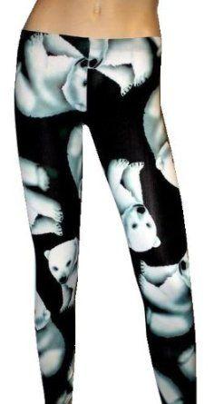 Cute Polar Bear Animal Black Print Leggings: Amazon.co.uk: Clothing