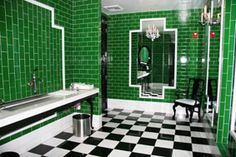Elevating green to a new level in this surreal bathroom.