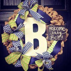 Burlap monogram wreath // It's a Boy wreath // Navy blue // White // Chalkboard // Lime green // Burlap its a boy wreath on Etsy, $115.00