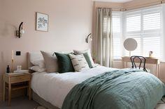 Bedroom Loft, Home Bedroom, Bedroom Decor, Calm Bedroom, Bedroom Ideas, Calming Bedroom Colors, Room Wall Colors, Dusky Pink Bedroom, Beautiful Bedroom Designs