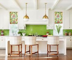 Pops of green add charm and personality to this kitchen.