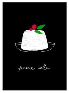 Italia negro postre ilustración Panna Cotta cocina por anek en Etsy