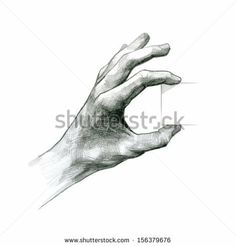 pencil drawing Hand Hold Virtual Card by Imbre, via Shutterstock