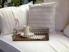 Daybed pillows made from denim and linen