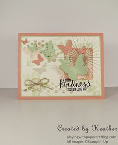 Playing with Papercrafting: Butterfly Frenzy for As You See It Challenges  Here's a way to have fun with the Beautiful Wings Embosslit from Stampin' Up!  #KindaEclectic, #BeautifulWingsEmbosslit http://www.playingwithpapercrafting.com/2014/06/butterfly-frenzy-for-as-you-see-it.html