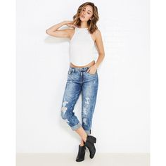 Destroyed Light Acid Wash Boyfriend Jeans ($37) ❤ liked on Polyvore featuring jeans, dark destroyed, distressed boyfriend jeans, torn boyfriend jeans, relaxed boyfriend jeans, ripped jeans and white jeans