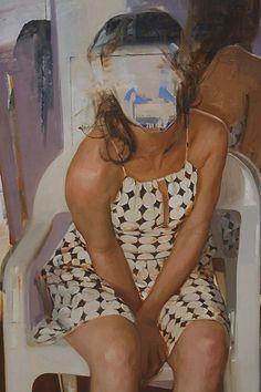 Nicolas Uribe {figurative #surreal art faceless female seated woman painting #noveltechnique #loveart} nicolasuribeart.com