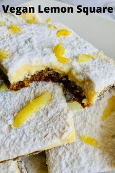 A healthy and vegan lemon square with a graham cracker crust and topped with a creamy lemon filling. It is a light and refreshing dessert with the perfect blend of tangy and sweet. Graham Cracker Crust, Graham Crackers, Lemon Squares, Refreshing Desserts, Lemon Filling, Lemon Desserts, Vegan Butter, A Food, Food Processor Recipes