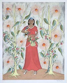Art of Haiti - Rigaud Benoit Haitian Art, Naive Art, Outsider Art, Muted Colors, Deities, Black History, Flower Art, Art Drawings, Arts And Crafts