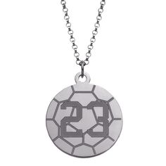 Sterling Silver Personalized Soccer Disc Necklace (1) Women's