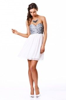 White/Silver dress strapless by Seduce