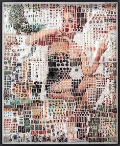 Michael Mapes Pin Ups are a series of three dimensional assemblages of original 1950s pin-up girls consisting of fractional photos and found objects.