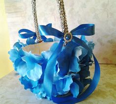 Blue Hydrangea flower girl basket | Items similar to blue flower girl basket…