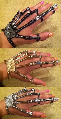 SKELETON HAND BONE TALON CLAW SKULL BRACELET CUFF FINGER NAIL KNUCKLE RING
