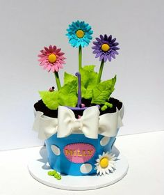 Flower pot of Daisies Cake