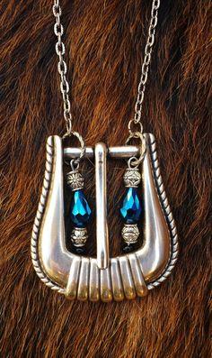 Unique Beaded Western Antique Silver Belt Buckle Necklace