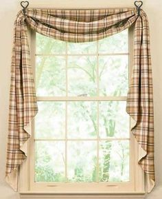 The Country Village Shoppe features Thyme Fishtail Swag from Park Designs. Cortinas Country, Country Style Curtains, Swag Curtains, Hall Curtains, Window Curtains, Drapery, Mediterranean Home Decor, Custom Drapes, House Windows