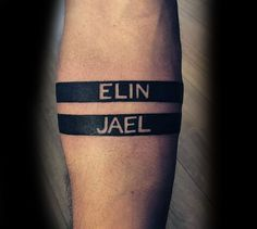 Man With Negative Space Black Ink Armband Name Tattoo
