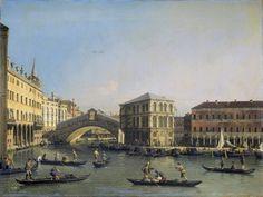 Canaletto – Rijksmuseum SK-A-3385. Het Canal Grande met de Ponte Rialto en de Fondaco dei Tedeschi(1707-1750)