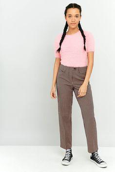 Slide View: 1: Light Before Dark Pink Gingham Slim Straight-Leg Trousers