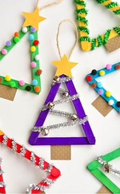 Easy Christmas Tree Crafts for Kids that make fabulous Holiday decor! crafts Easy Christmas Tree Crafts for Kids that make fabulous Holiday decor! Stick Christmas Tree, Christmas Tree Crafts, Christmas Fun, Childrens Christmas Crafts, Kids Holiday Crafts, Popsicle Stick Christmas Crafts, Christmas Art Projects, Christmas Jesus, Christmas Clothespin Crafts